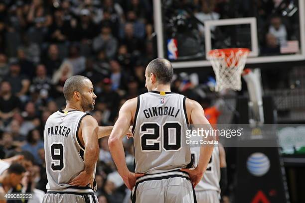Tony Parker of the San Antonio Spurs and Manu Ginobili of the San Antonio Spurs during the game against the Atlanta Hawks on November 28 2015 at the...