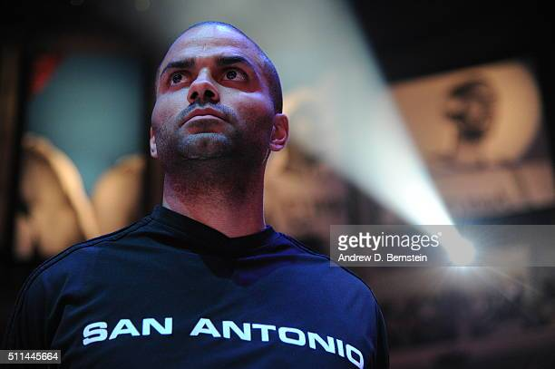 Tony Parker of the San Antonio Spurs before the game against the Los Angeles Clippers at STAPLES Center on February 18 2016 in Los Angeles California...