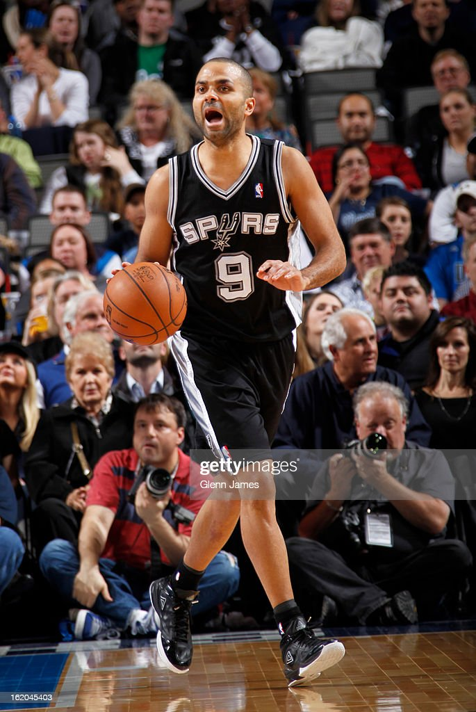 Tony Parker #9 of the San Antonio Spurs brings the ball up court against the Dallas Mavericks on January 25, 2013 at the American Airlines Center in Dallas, Texas.