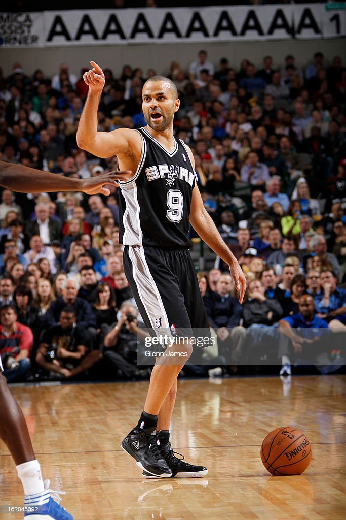 Tony Parker #9 of the San Antonio Spurs calls a play against the Dallas Mavericks on January 25, 2013 at the American Airlines Center in Dallas, Texas.