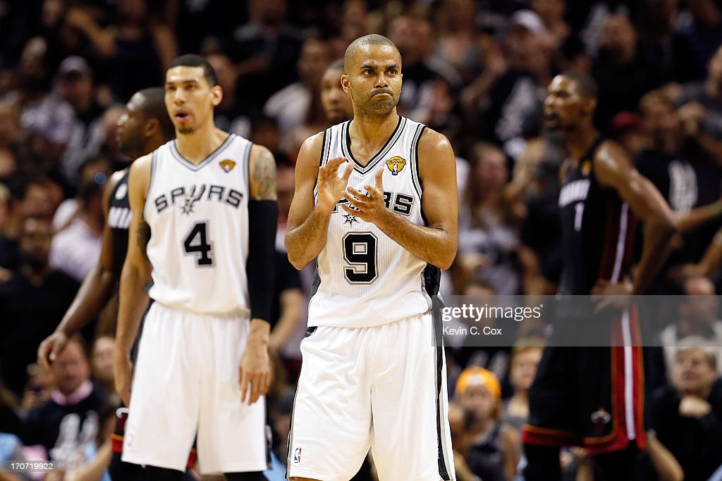 Tony Parker #9 of the San Antonio Spurs celebrates in the fourth quarter while taking on the Miami Heat during Game Five of the 2013 NBA Finals at the AT&T Center on June 16, 2013 in San Antonio, Texas.
