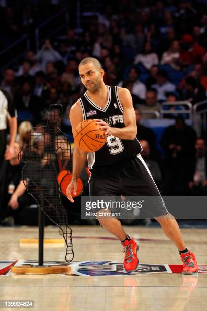Tony Parker of the San Antonio Spurs competes in the Taco Bell Skills Challenge part of 2012 NBA AllStar Weekend at Amway Center on February 25 2012...