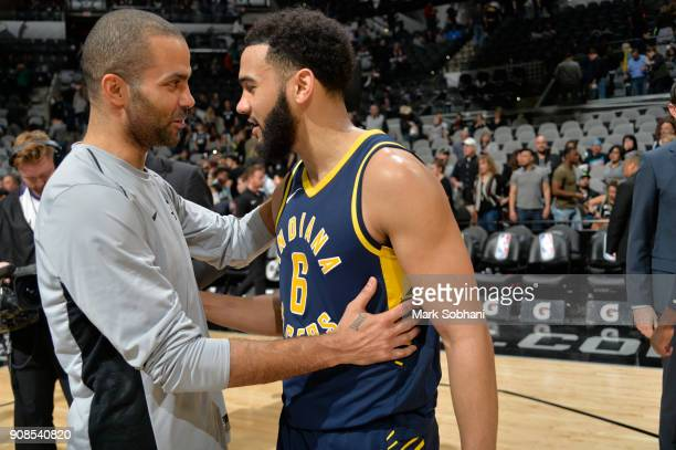 Tony Parker of the San Antonio Spurs congratulates Cory Joseph of the Indiana Pacers on a game well played on January 21 2018 at the ATT Center in...