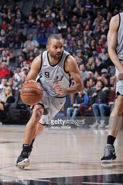 Tony Parker of the San Antonio Spurs drives against the Sacramento Kings on December 23 2017 at Golden 1 Center in Sacramento California NOTE TO USER...