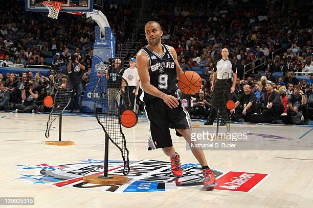 Tony Parker of the San Antonio Spurs during the Taco Bell Skills Challenge as part of 2012 AllStar Weekend at the Amway Center on February 25 2012 in...