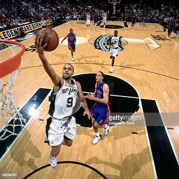 Tony Parker of the San Antonio Spurs goes for a layup against Tayshaun Prince of the Detroit Pistons in Game Two of the 2005 NBA Finals on June 12,...