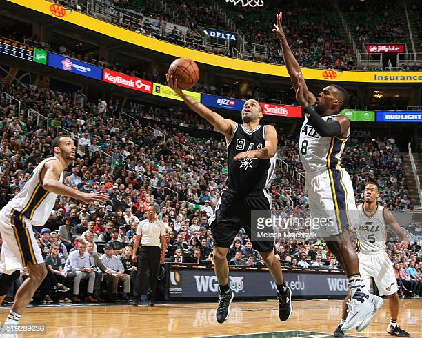 Tony Parker of the San Antonio Spurs goes for the layup against the Utah Jazz during the game on April 5 2016 at Vivint Smart Home Arena in Salt Lake...
