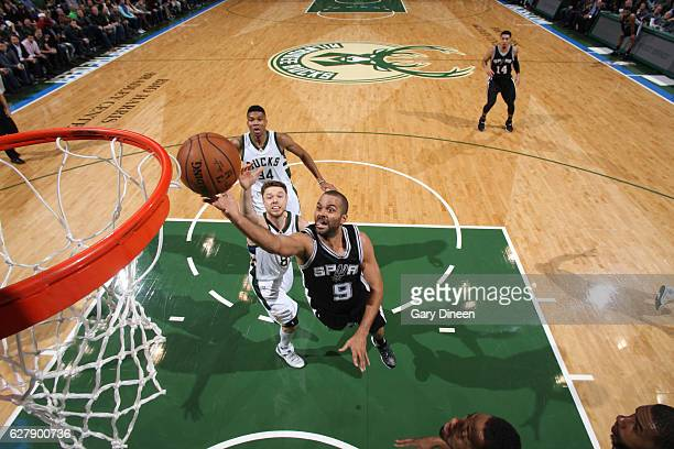 Tony Parker of the San Antonio Spurs goes up for a lay up during a game against the Milwaukee Bucks on December 5 2016 at the BMO Harris Bradley...