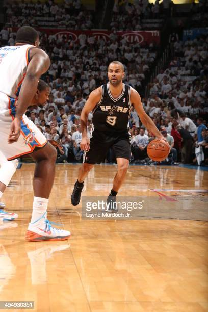 Tony Parker of the San Antonio Spurs handles the ball against the Oklahoma City Thunder in Game Six of the Western Conference Finals during the 2014...
