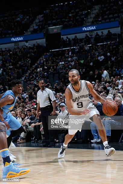 Tony Parker of the San Antonio Spurs handles the ball against the Denver Nuggets on November 18 2015 at the ATT Center in San Antonio Texas NOTE TO...