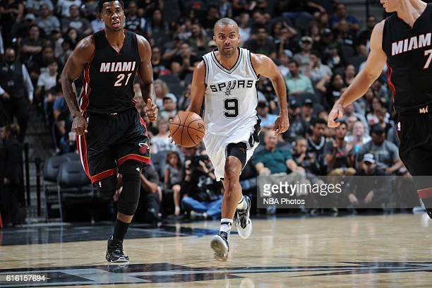 Tony Parker of the San Antonio Spurs handles the ball against the Miami Heat on October 14 2016 at the ATT Center in San Antonio Texas NOTE TO USER...