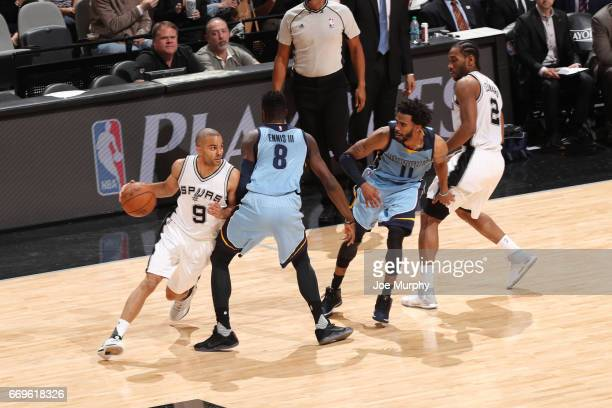 Tony Parker of the San Antonio Spurs handles the ball against the Memphis Grizzlies during Game Two of the Western Conference Quarterfinals of the...