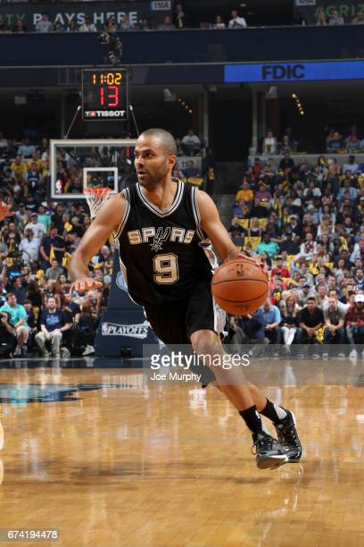 Tony Parker of the San Antonio Spurs handles the ball against the Memphis Grizzlies during Game Six of the Western Conference Quarterfinals of the...