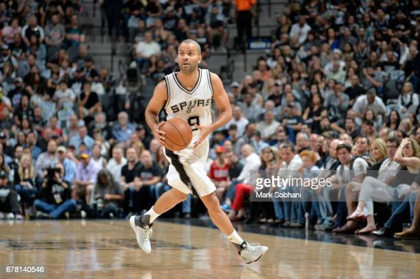 Tony Parker of the San Antonio Spurs handles the ball against the Houston Rockets during Game Two of the Eastern Conference Semifinals of the 2017...