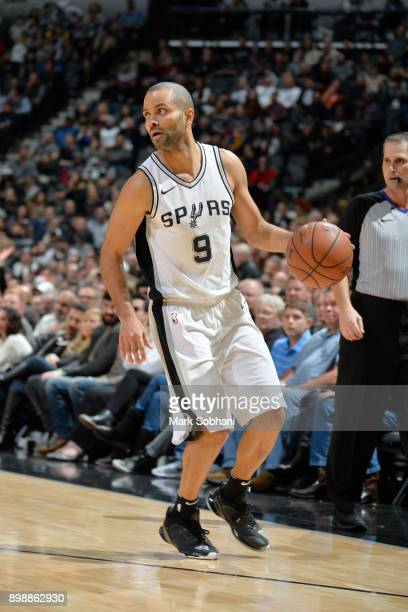 Tony Parker of the San Antonio Spurs handles the ball against the Brooklyn Nets on December 26 2017 at the ATT Center in San Antonio Texas NOTE TO...