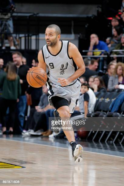 Tony Parker of the San Antonio Spurs handles the ball during the game against the Sacramento Kings on December 23 2017 at Golden 1 Center in...