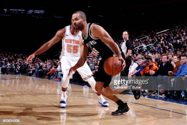 Tony Parker of the San Antonio Spurs handles the ball during the game against the New York Knicks on January 2 2018 at Madison Square Garden in New...