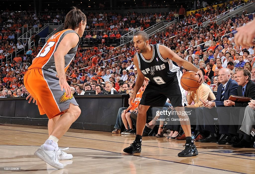 Tony Parker #9 of the San Antonio Spurs looks to move against Steve Nash #13 of the Phoenix Suns in Game Two of the Western Conference Semifinals during the 2010 NBA Playoffs on May 5, 2010 at US Airways Center in Phoenix, Arizona. The Suns won 110-102.