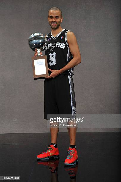 Tony Parker of the San Antonio Spurs poses for a portrait after winning the Taco Bell Skills Challenge as part of 2012 AllStar Weekend at the Amway...
