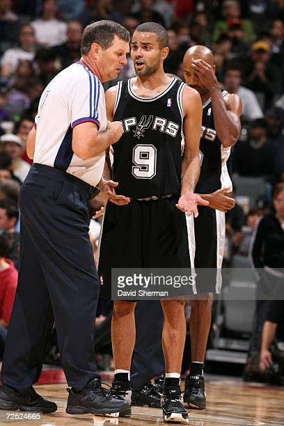 Tony Parker of the San Antonio Spurs protests a call to referee Bernie Fryer during the game against of the Toronto Raptors on November 5 2006 at Air...