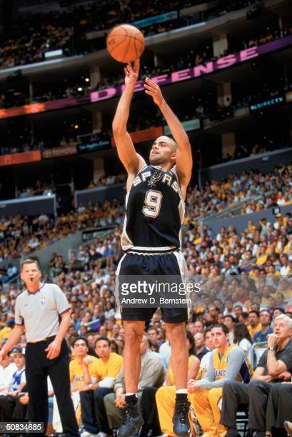 Tony Parker of the San Antonio Spurs puts up a shot against the Los Angeles Lakers in Game Three of the Western Conference Semifinals during the 2004...
