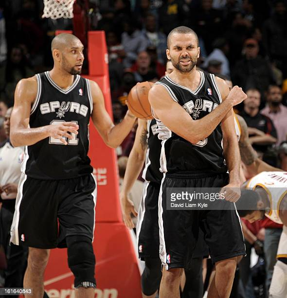 Tony Parker of the San Antonio Spurs reacts after the final buzzer in their victory over the Cleveland Cavaliers at The Quicken Loans Arena on...