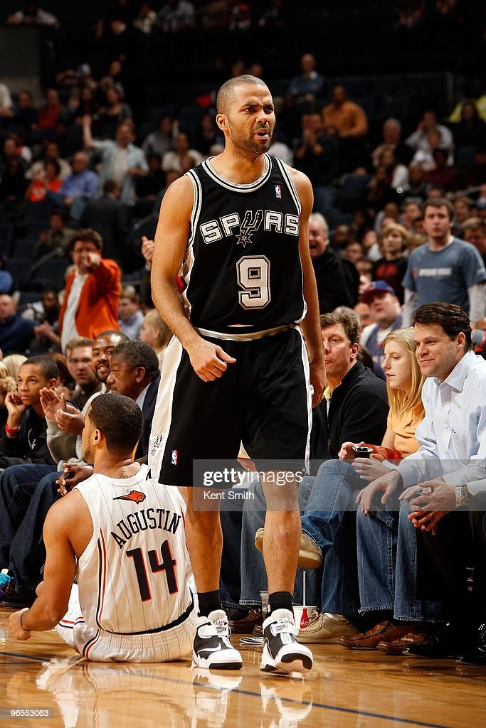 Tony Parker #9 of the San Antonio Spurs reacts during the game against the Charlotte Bobcats on January 15, 2010 at Time Warner Cable Arena in Charlotte, North Carolina. The Bobcats won 92-76.