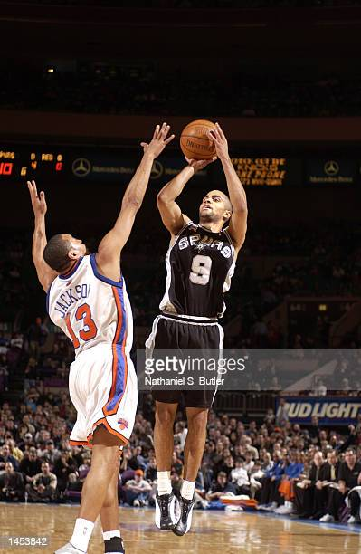 Tony Parker of the San Antonio Spurs shoots a jumper over Mark Jackson of the New York Knicks at Madison Square Garden in New York New York DIGITAL...