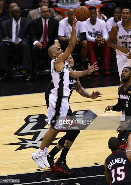 Tony Parker of the San Antonio Spurs shoots the ball against the Miami Heat in Game Five of the 2014 NBA Finals at the AT&T Center on June 15, 2014...