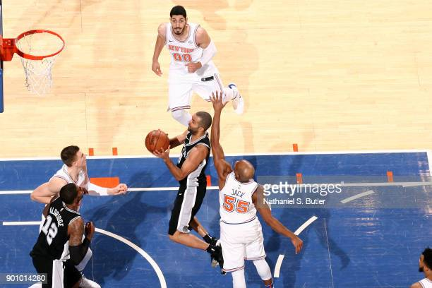 Tony Parker of the San Antonio Spurs shoots the ball against the New York Knicks on January 2 2018 at Madison Square Garden in New York New York NOTE...