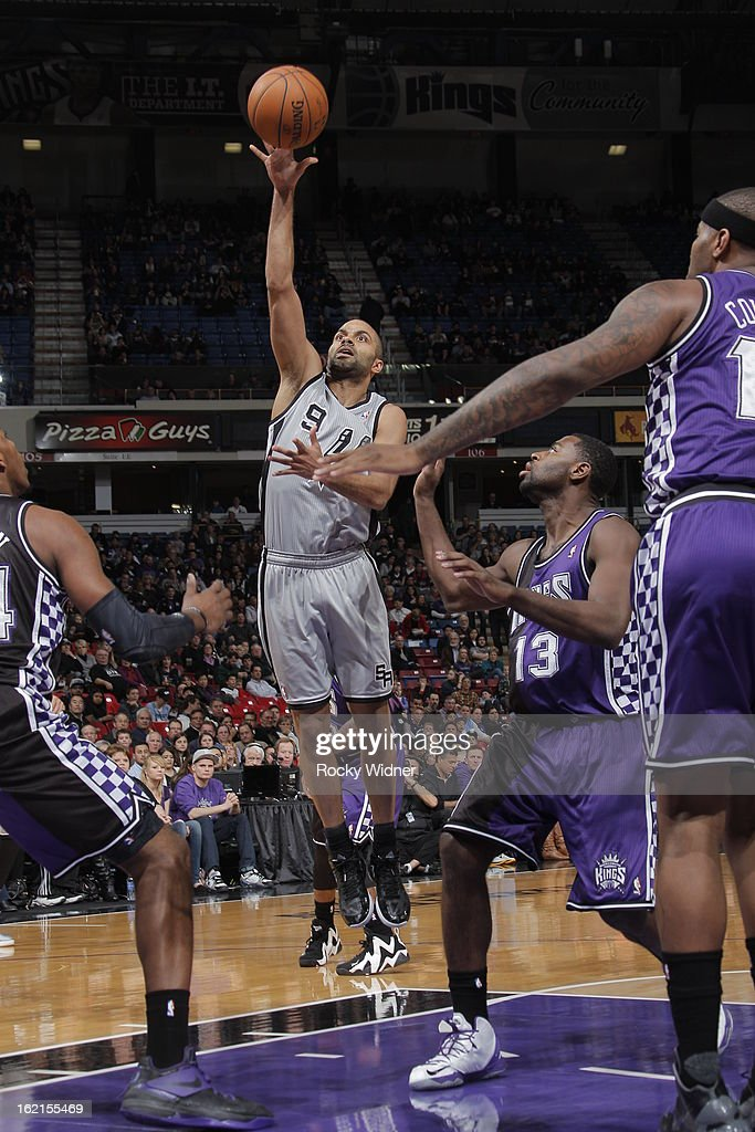 Tony Parker #9 of the San Antonio Spurs shoots the ball against Tyreke Evans #13 of the Sacramento Kings on February 19, 2013 at Sleep Train Arena in Sacramento, California.