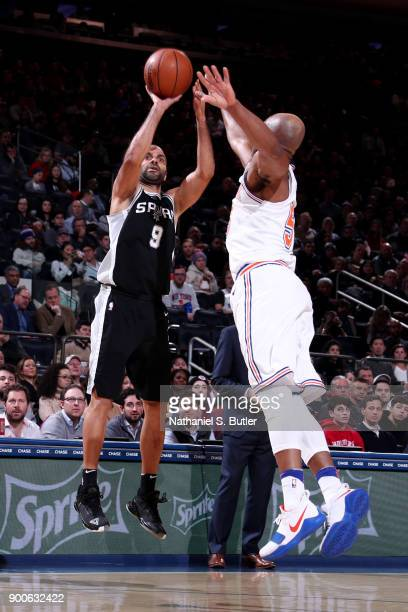 Tony Parker of the San Antonio Spurs shoots the ball during the game against the New York Knicks on January 2 2018 at Madison Square Garden in New...