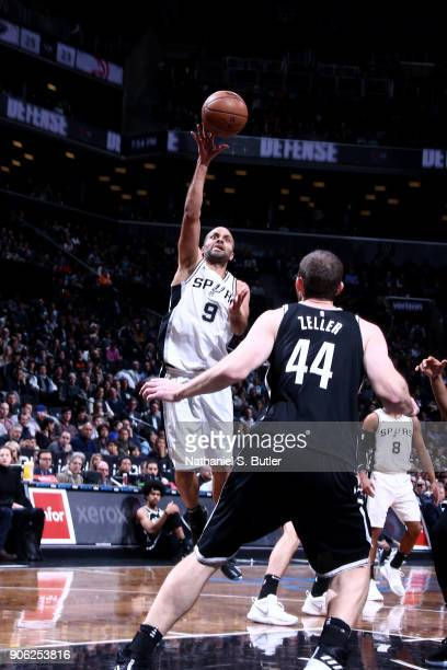 Tony Parker of the San Antonio Spurs shoots the ball during the game against the Brooklyn Nets on January 17 2018 at Barclays Center in Brooklyn New...
