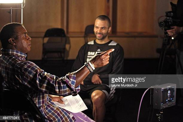 Tony Parker of the San Antonio Spurs sits down with Ahmad Rashad for a One on One exclusive interview for the NBA during Western Conference Finals of...