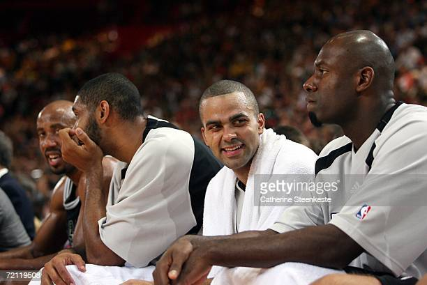 Tony Parker of the San Antonio Spurs smiles on the bench during the preseason game against Maccabi Elite Tel Aviv during the NBA Europe Live Tour...