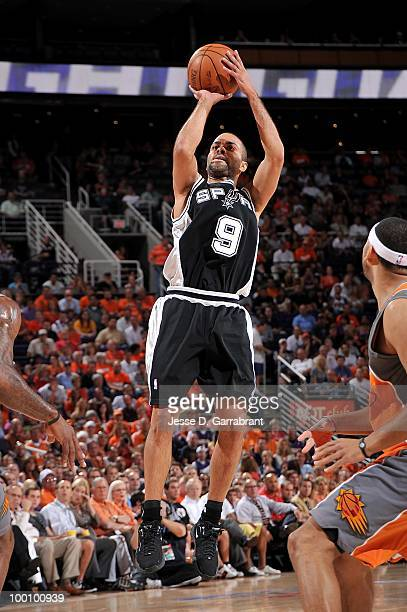 Tony Parker of the San Antonio Spurs takes a jump shot while taking on the Phoenix Suns in Game Two of the Western Conference Semifinals during the...