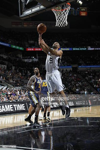 Tony Parker of the San Antonio Spurs taking a shot during a game against the Utah Jazz on January 15 2014 at the ATT Center in San Antonio Texas NOTE...