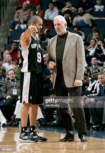 Tony Parker of the San Antonio Spurs talks to Head Coach Gregg Popovich during the game against the Memphis Grizzlies on January 2 2009 at FedExForum...
