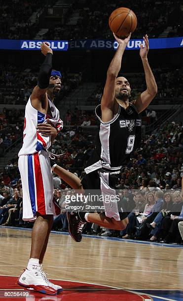 Tony Parker of the San Antonio Spurs tries to get off a shot in front of Richard Hamilton of the Detroit Pistons on March 14 2008 at the Palace of...