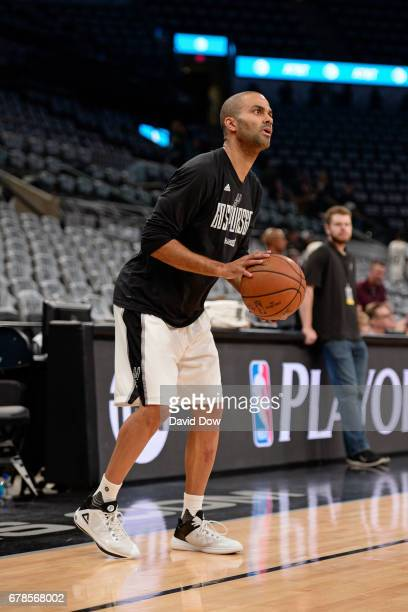 Tony Parker of the San Antonio Spurs warms up before Game Two of the Eastern Conference Semifinals against the Houston Rockets during the 2017 NBA...