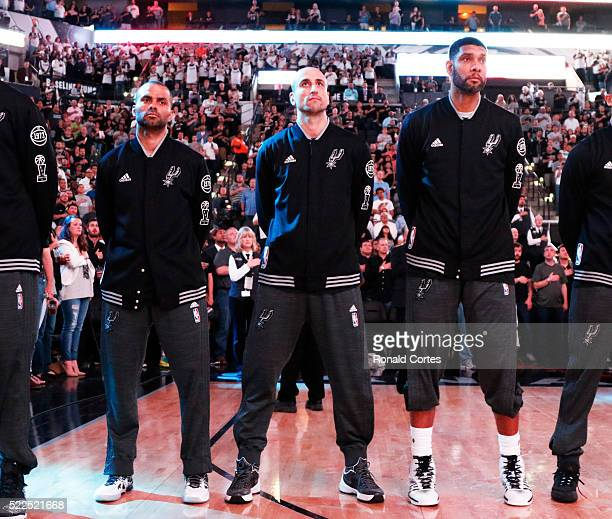 Tony Parker of the San Antonio SpursManu Ginobili of the San Antonio Spurs and Tim Duncan of the San Antonio Spurs before their game against the...
