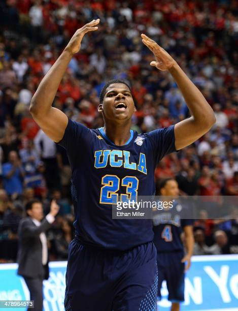Tony Parker of the UCLA Bruins celebrates on the court late in the championship game of the Pac-12 Basketball Tournament against the Arizona Wildcats...