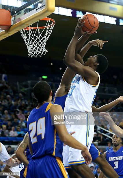 Tony Parker of the UCLA Bruins shoots against the UCSB Gauchos at Pauley Pavilion on December 3 2013 in Los Angeles California UCLA won 8976