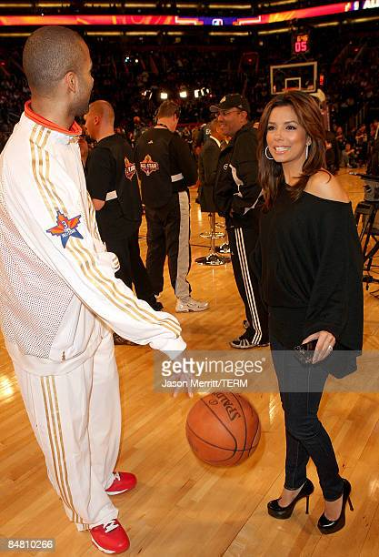 Tony Parker of the Western Conference poses with his wife actress Eva Longoria Parker during the 58th NBA AllStar Game part of 2009 NBA AllStar...