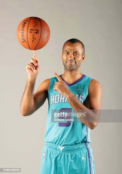 Tony Parker poses for a portrait during the Charlotte Hornets Media Day at the Spectrum Center on September 24 2018 in Charlotte North Carolina