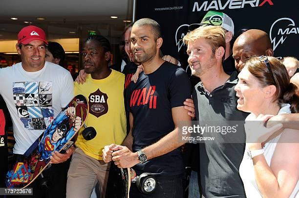 Tony Parker presents Maverix Electric Skate at La Defense in Paris at La Defense on July 17 2013 in Paris France
