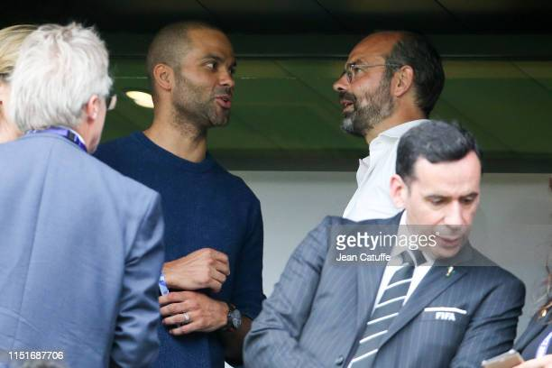 Tony Parker Prime Minister of France Edouard Philippe attend the 2019 FIFA Women's World Cup France Round Of 16 match between France and Brazil at...