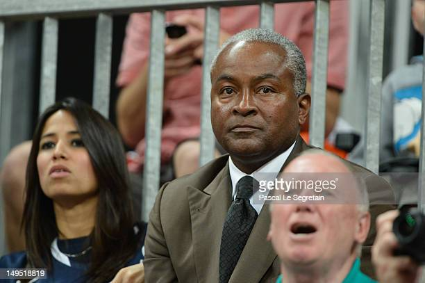 Tony Parker Senior watches the Men's Basketball game between the United States and France on Day 2 of the London 2012 Olympic Games at Basketball...
