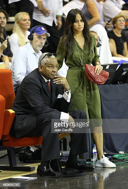 Tony Parker Sr father of Tony Paker and Axelle Francine wife of Tony Parker attend the international friendly basketball match between France and...