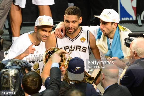 Tony Parker Tim Duncan and Manu Ginobili of the San Antonio Spurs pose for a picture against the Miami Heat during Game Five of the 2014 NBA Finals...